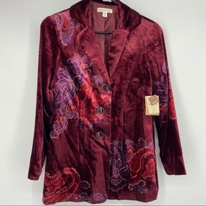 NWT Coldwater Creek Red Velvet Button Up Blazer